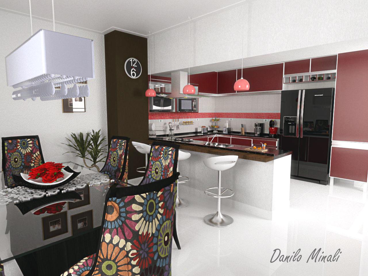Pendentes combinando com a cozinha e sala de jantar. Que lindo esse  #9C2F2F 1280 960