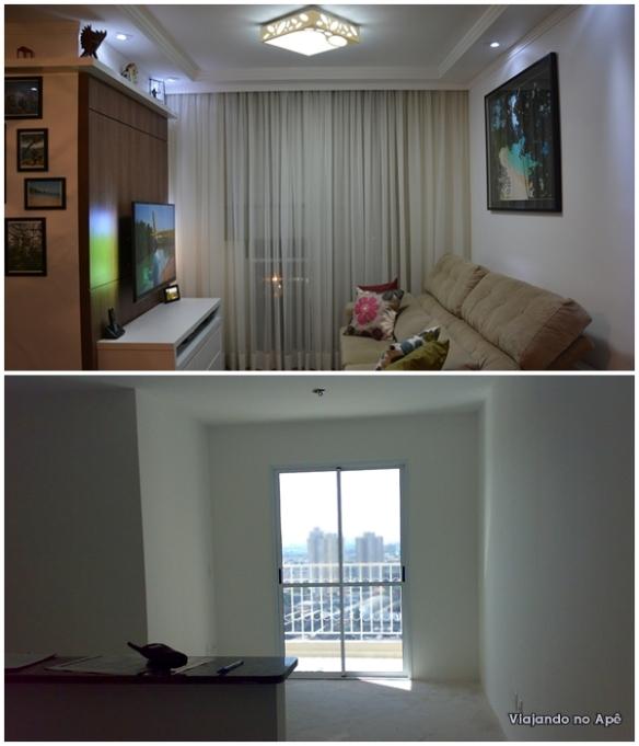 cortineiro cortina voil persiana romana sala antes e depois 2