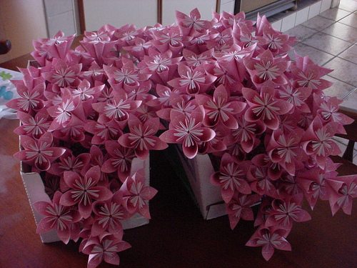 flores origami decoraçao