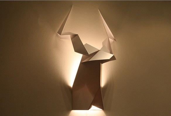 luminaria de parede papel origami cabeça animais