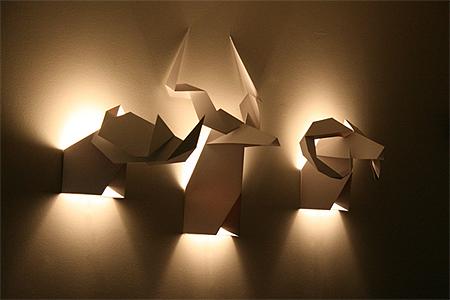 luminaria de parede papel origami