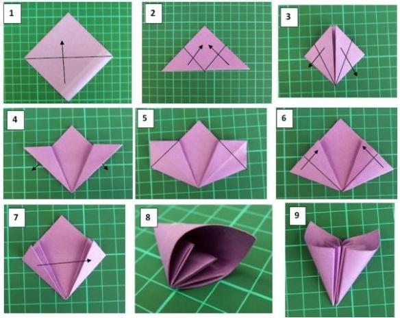 origami flor passo a passo