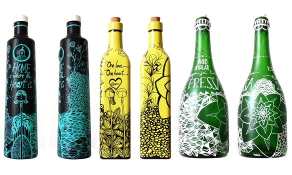 garrafas decoradas posca